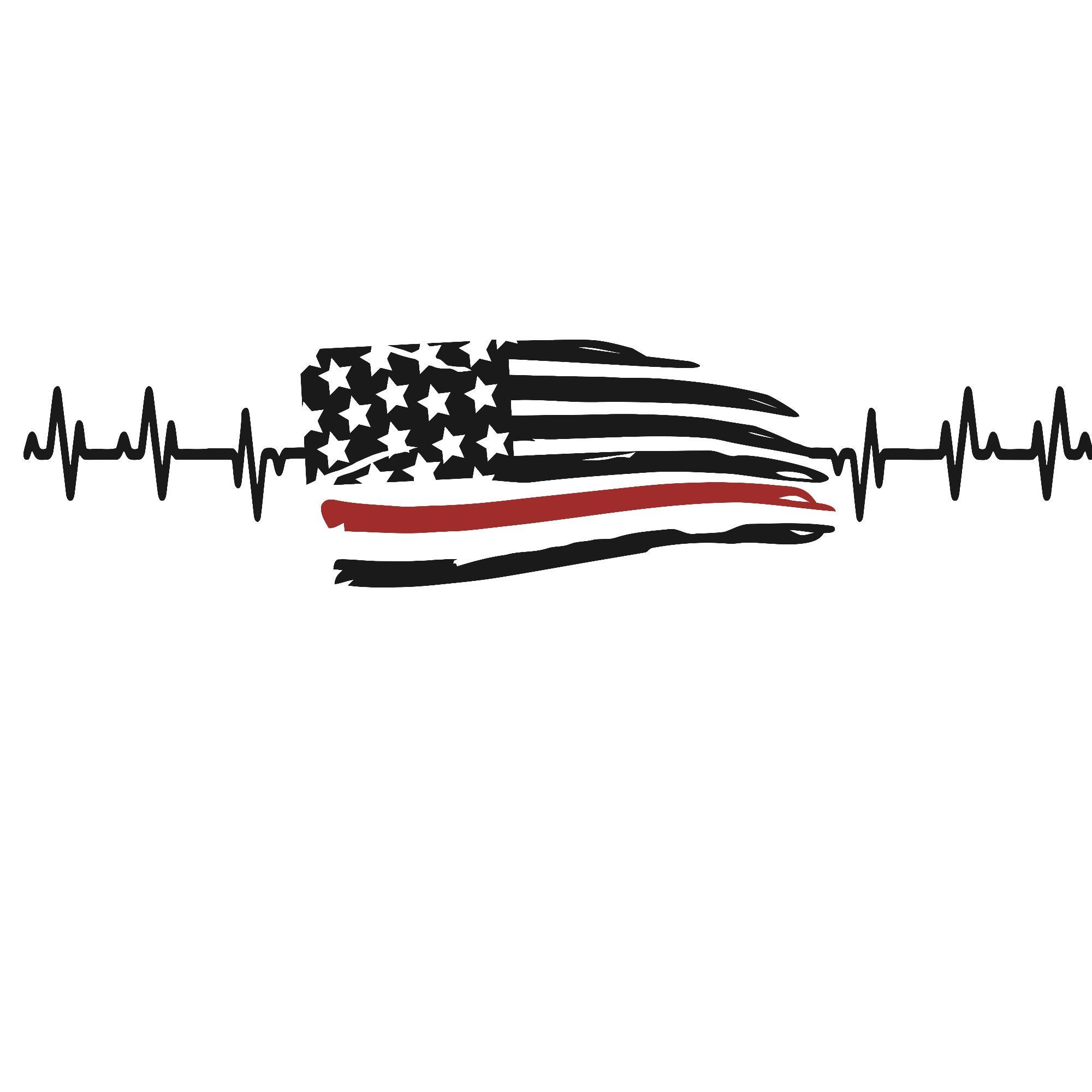Thin Red Line Flag Heartbeat Vinyl Decal By Cityvinyl On