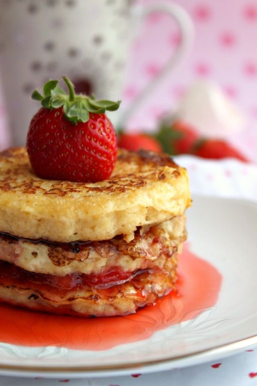 French Toast with Flambeed Strawberries and Maple Syrup