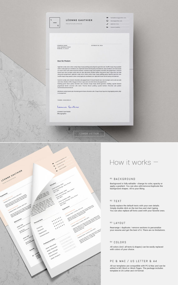 Resume Template Cover Letter For Ms Word 3 Page Resume Design