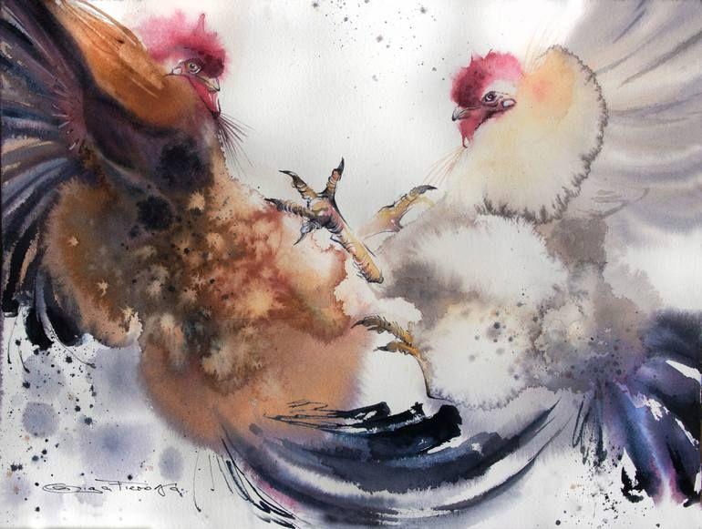 Original Animal Painting By Olga Flerova Figurative Art On Paper