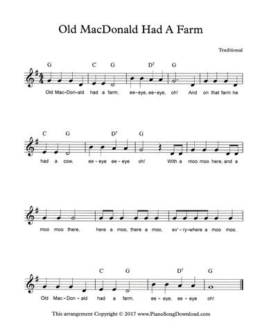 Old Macdonald Had A Farm Free Pdf Lead Sheet With Chords And Lyrics From Piano Song Download Piano Sheet Music Beginners Piano Songs Children Songs Lyrics