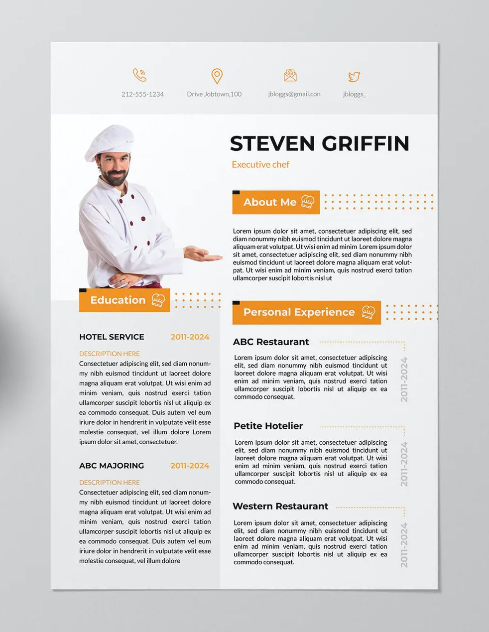 Chef Resume Template AI, EPS in 2020 Chef resume, Resume