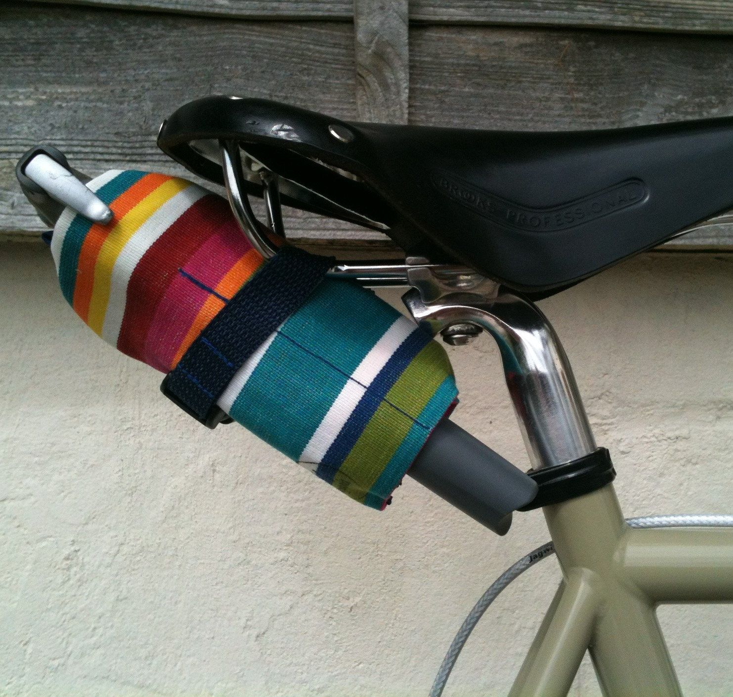 Waxed Canvas Bicycle Tool Roll Saddle Bag Accessory And Pouch Multicoloured Stripes