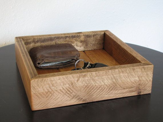 Oak Valet Tray Catchall Dresser Caddy Desk Made From Reclaimed Wood