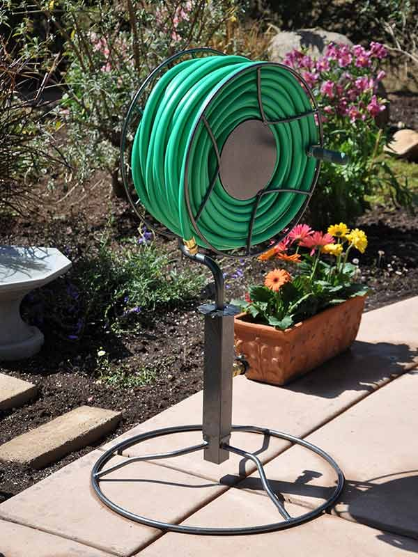 Swivel Reel With Patio Base    Sturdy And Attractive Free Standing Hose Reel  To Keep Your Patio Organized.    Garden Hose Storage. Reg 211, Sale $180