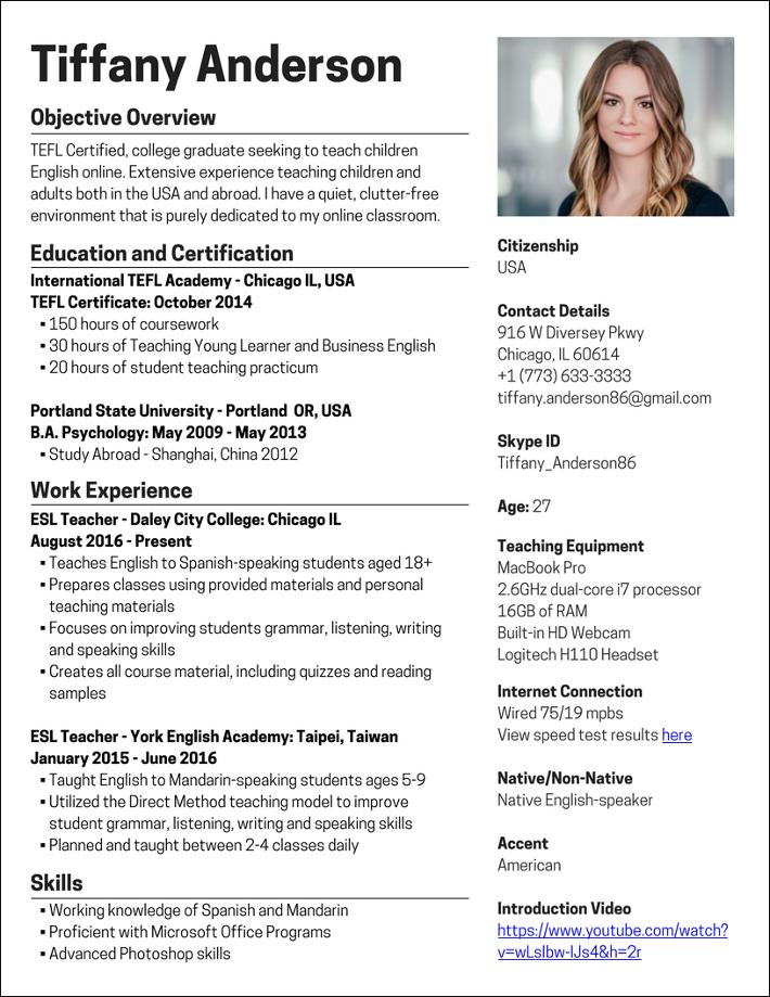 Teach English Online Sample Resume Teaching english