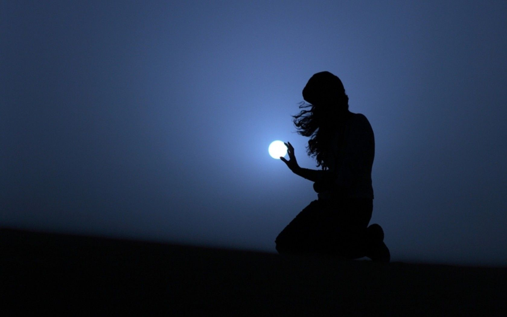 Women Dark Night Moon Wallpapers With Images Blue Moon