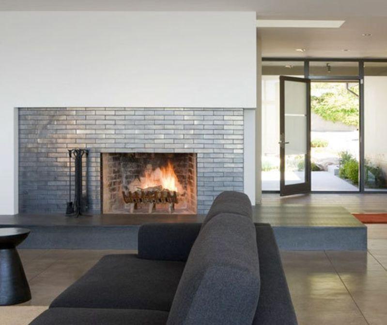10 Contemporary Tile Fireplaces, Metallic Tile Fireplace