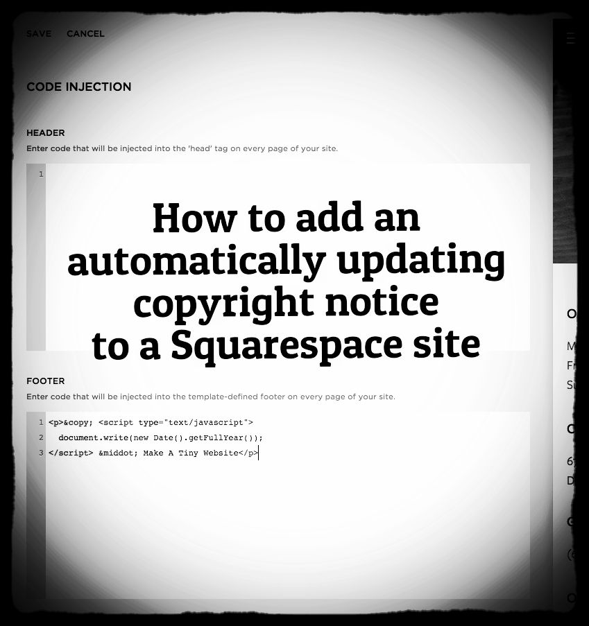 Automatically Updating Copyright Footer For A Squarespace Site