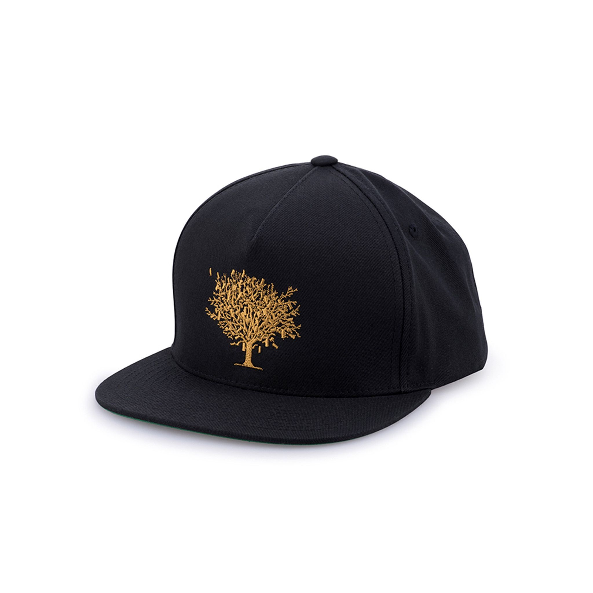 89ba1581 Black classic 5-panel cotton twill snapback. Money tree logo embroidered in  gold on the front. - Made in USA