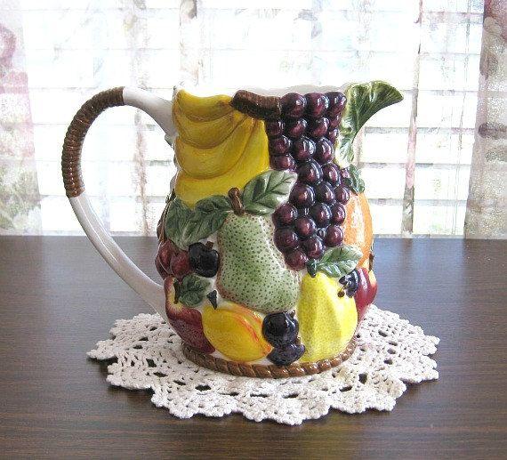 Ceramic Fruit Pitcher Pottery Pitcher Kitchen Decor Wedding Gift