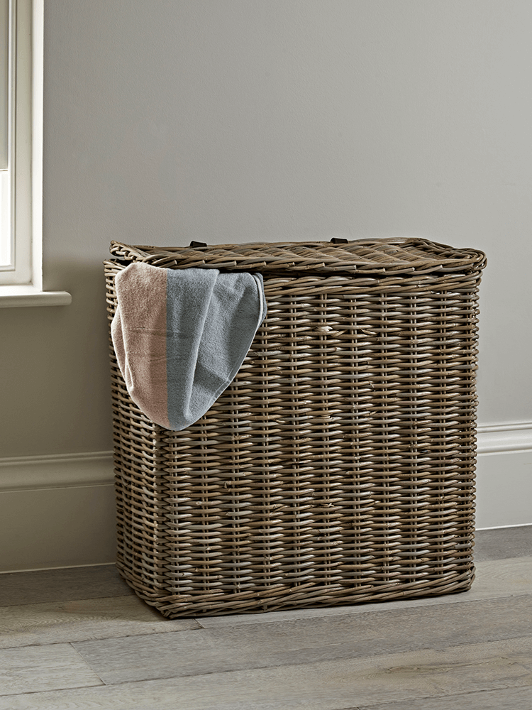 Keep Your Laundry In Check With Our Large Rattan Basket Two Separate Compartments Each A Cotton Lining To Lights And Darks