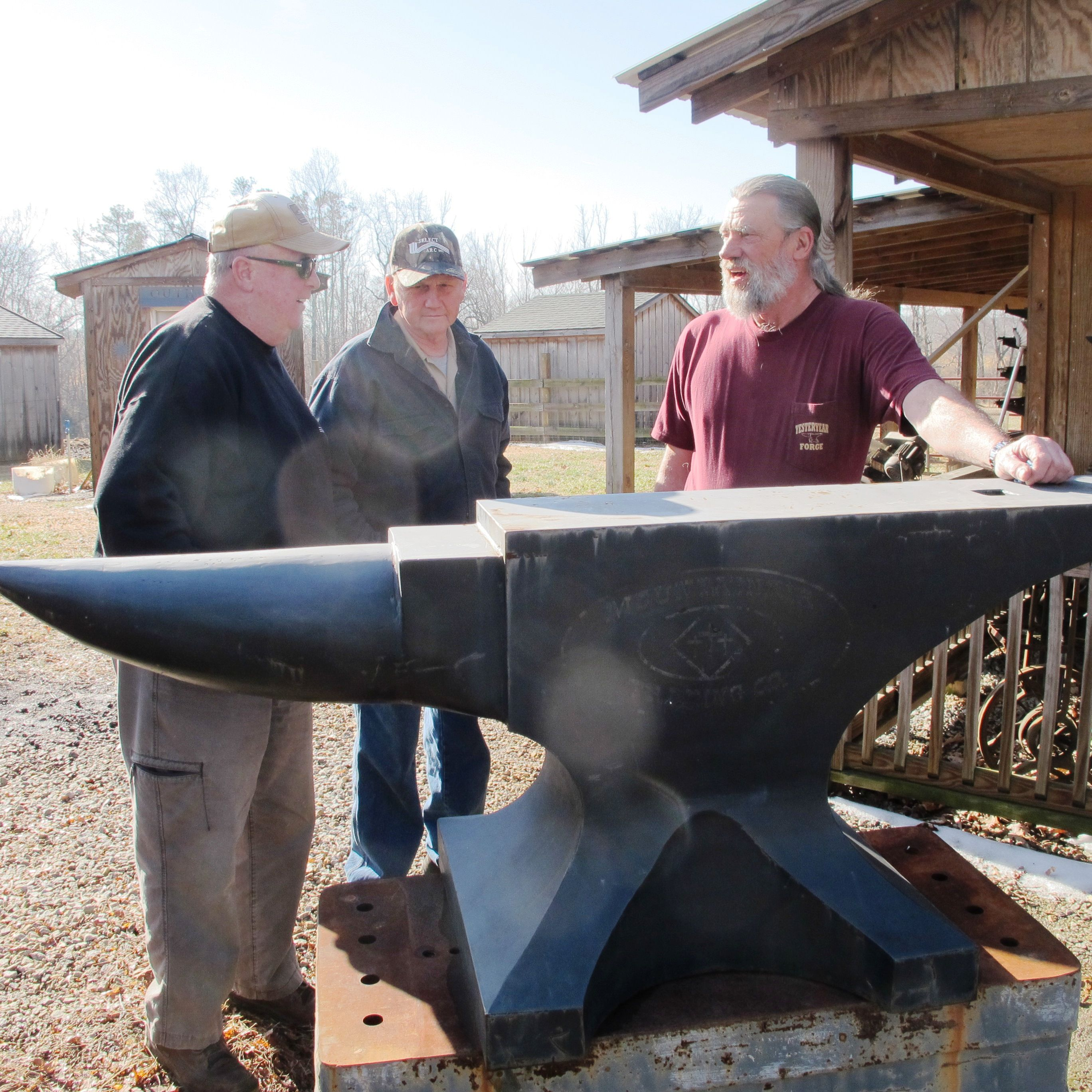 Dan Boone George Smart And Mike Tanner With The Sheet Metal Anvil Sign At Yesteryear Forge Blacksmithing Metal Working Tools Anvil