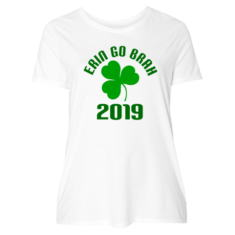 7ad18b50088 St Paddys Day holiday Women s Plus Size T-Shirt with green shamrock clover  and Erin Go Brah quote  29.99 www.homewiseshopperkids.com