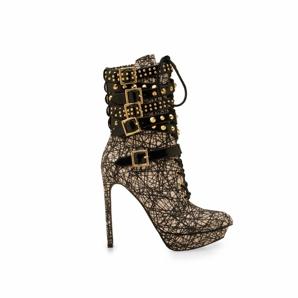 Lift Off - Taupe - Pointed Toe - Studded Booties