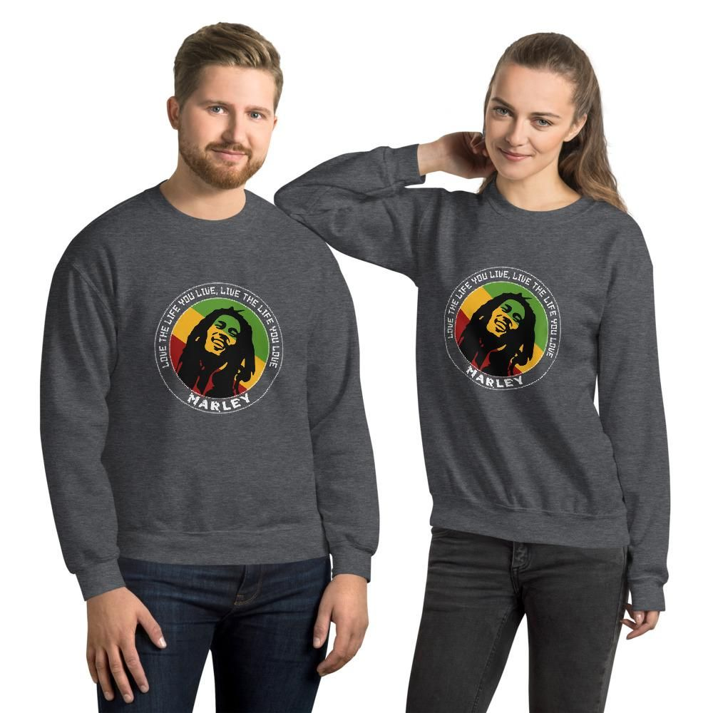 Live the Life You Live Quote by Marley, Men's Quote Sweatshirt - Dark Heather / 4XL