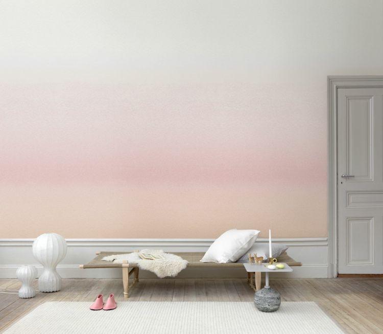 Die Ombre Wandgestaltung wurde in dezenten Farben umgesetzt - wohnzimmer deko tapete
