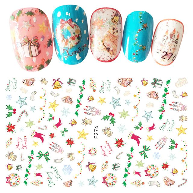 1 Sheet Top Quality Self Adhesive Xmas 3d Nails Sticker Christmas