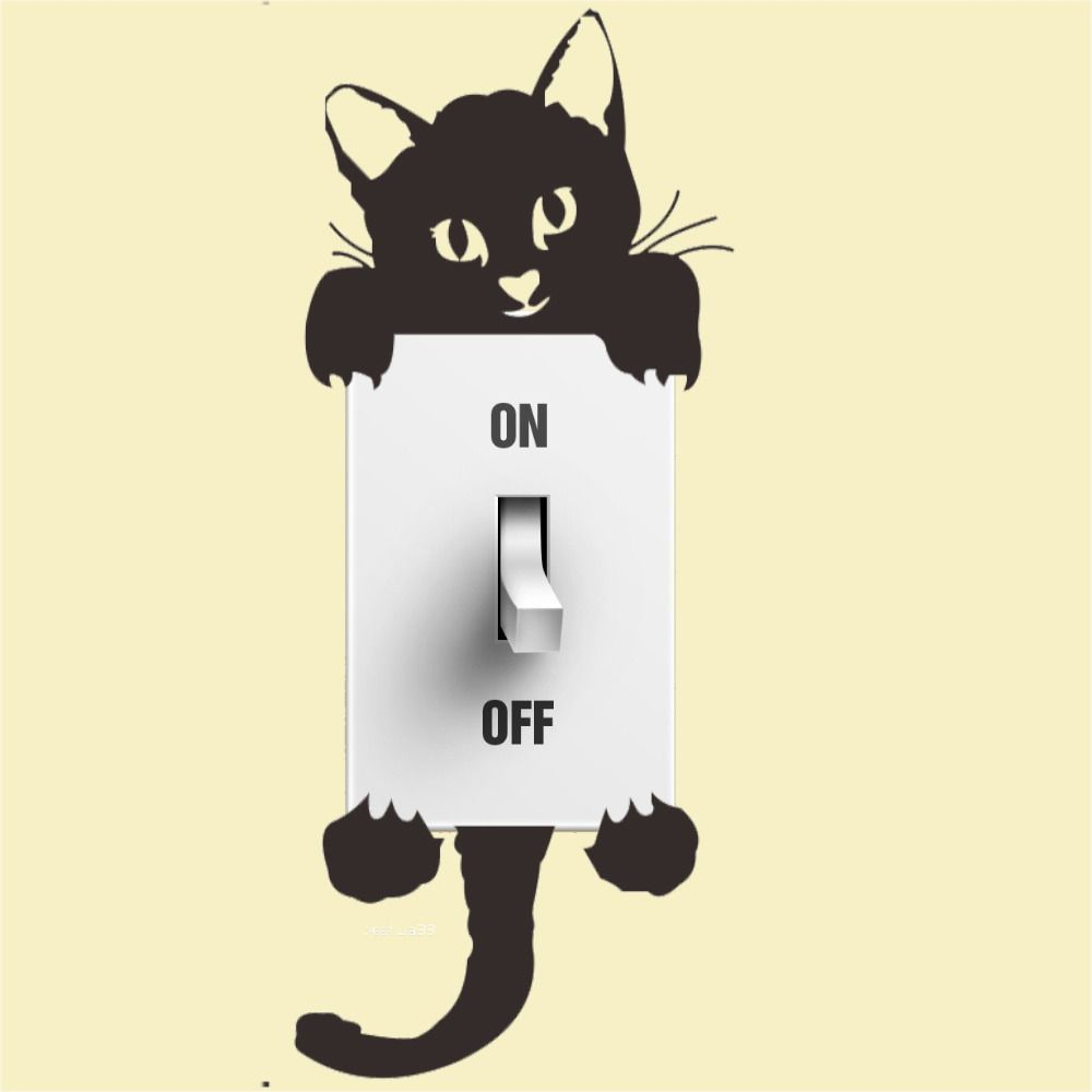 Switch Cat Wall Stickers Light Switch Decor Decals Art Mural Baby ...