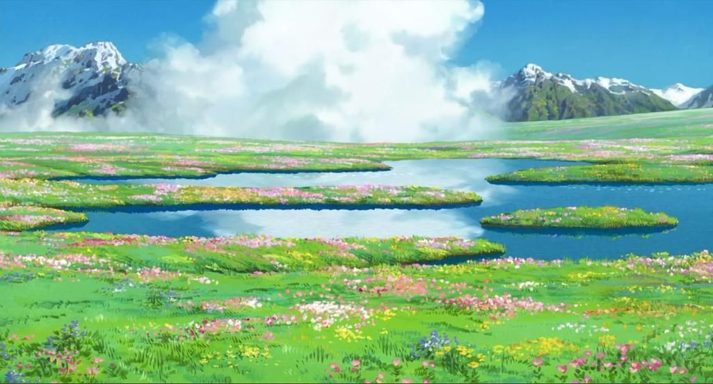 Howl S Flower Field Studio Ghibli Background Anime Scenery Howls Moving Castle