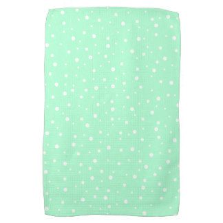 Pastel Mint Green With White Dots Pattern Towel Hand
