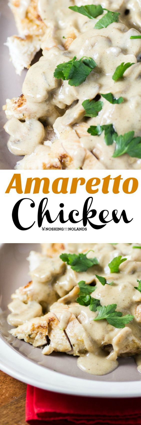 Amaretto Chicken by Noshing With The Nolands is elegant yet easy to make. Serve this scrumptious dish to guests or any day of the week!