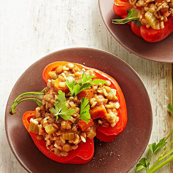 Lentil And Rice Stuffed Peppers Recipe Stuffed Peppers Recipes Slow Cooker Stuffed Peppers
