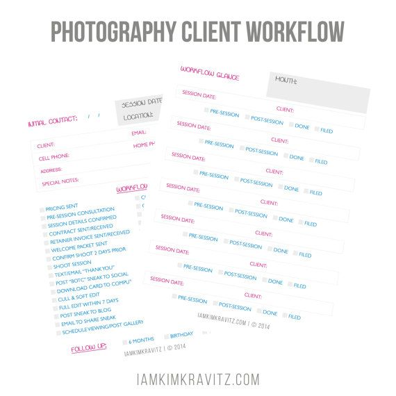 Wedding Photography Business Plans: Photography Client Workflow Worksheets Digital By