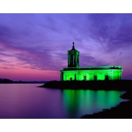 Church at Rutland Water at Sunset Leicestershire England Canvas Art - Paul Thompson DanitaDelimont (36 x 29)