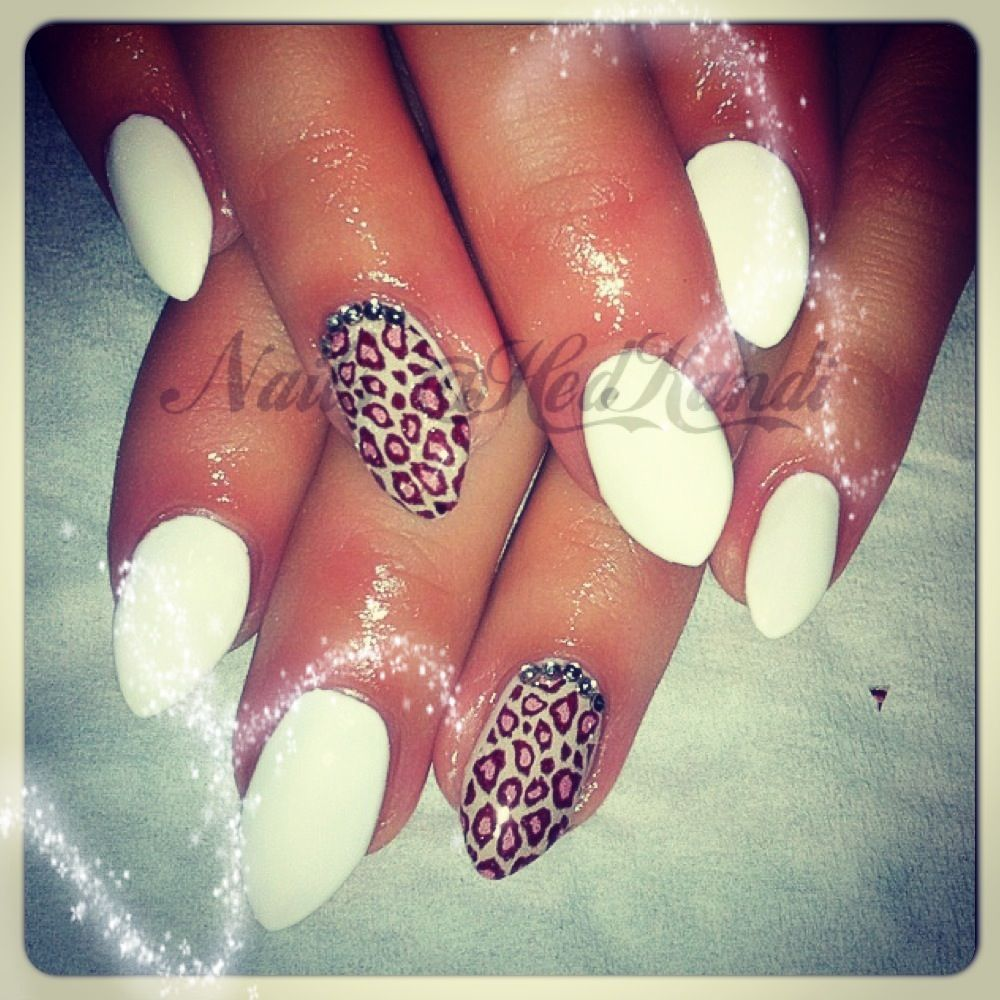 White and leopard gel nails. Short stiletto nails. | Nails | Pinterest
