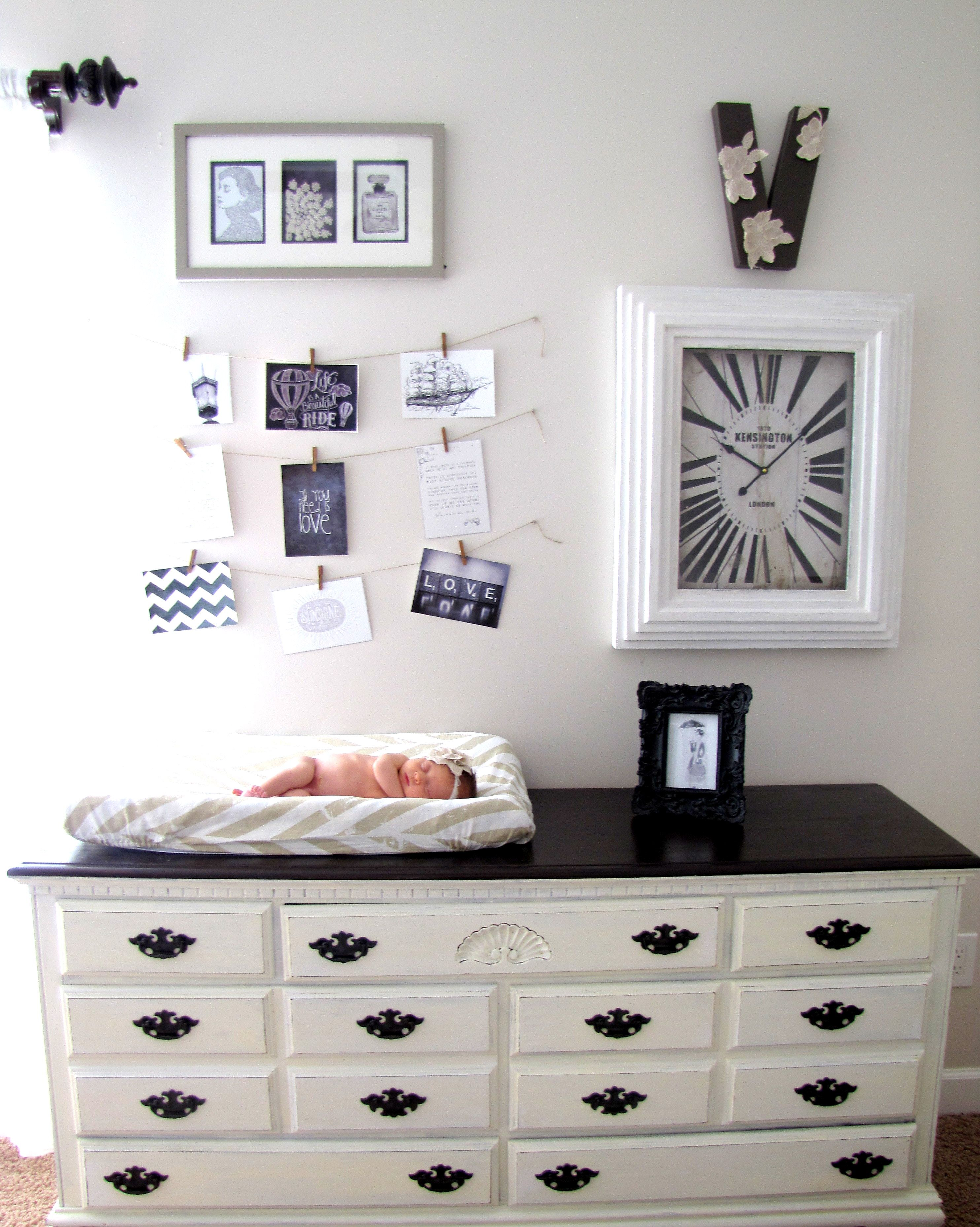 English themed nursery, Neutral nursery, Chalk Paint dresser, refinished  dresser, Black and