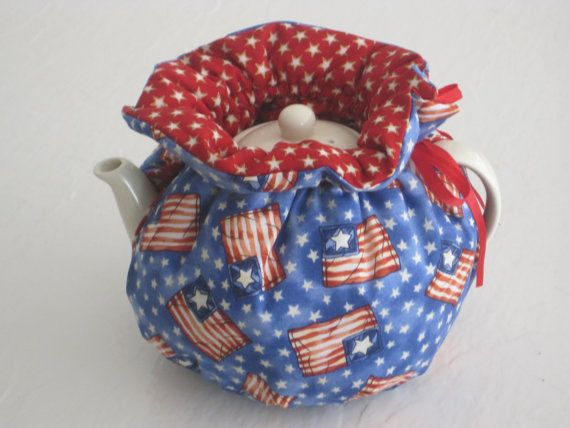 Stars and Stripes Reversible Cosy to fit 4 to 6 Cup by CosyKozees, $19.99
