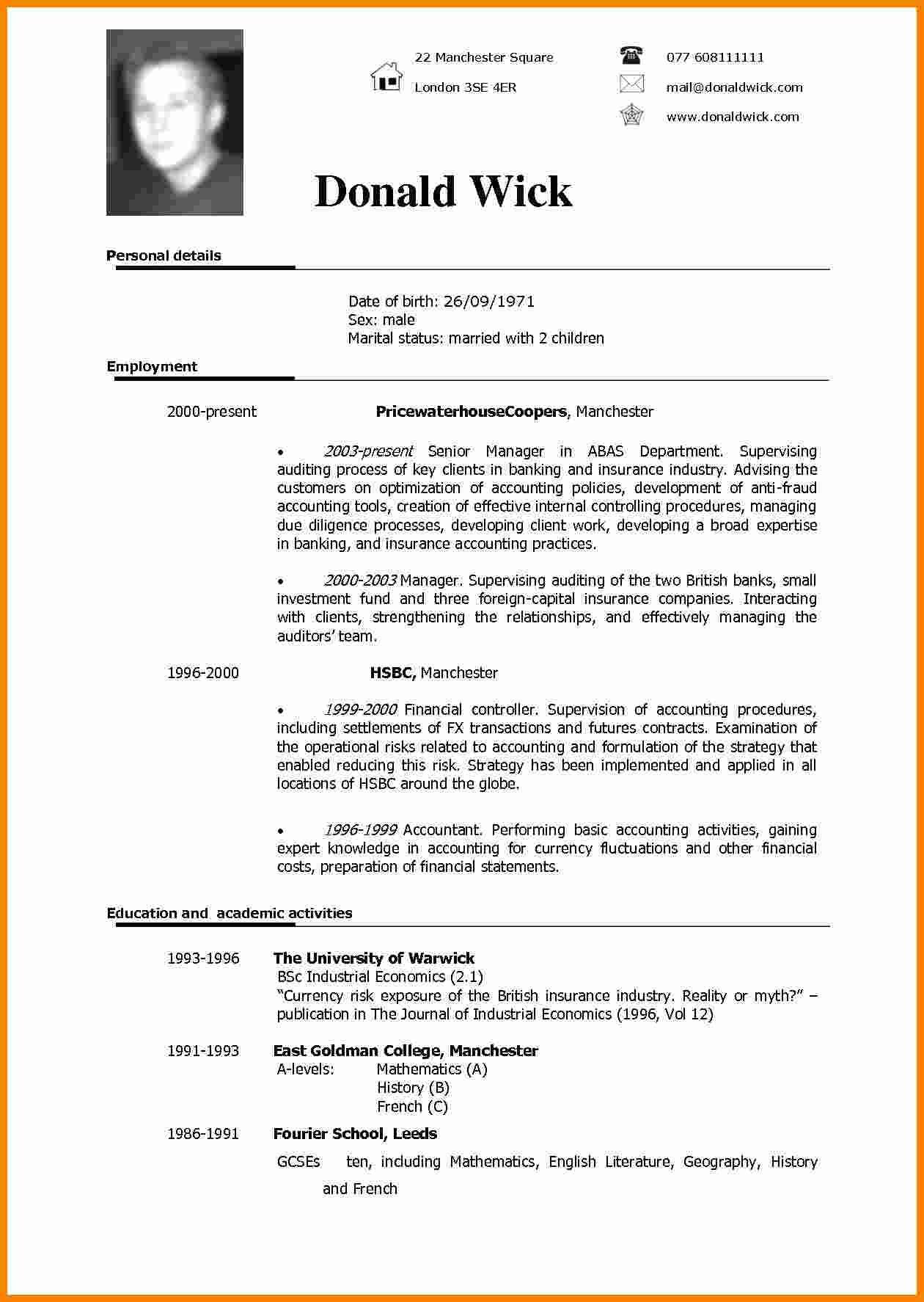5 cv sample in english theorynpractice Amazing 5 cv