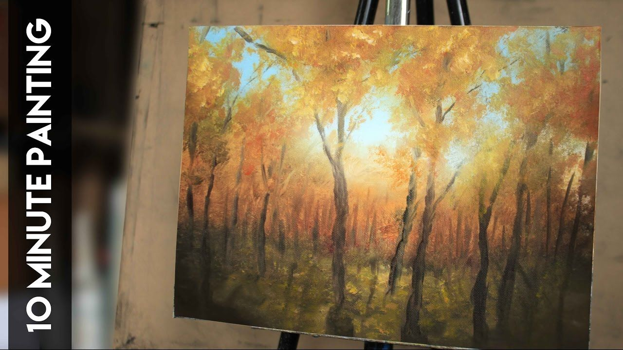 Painting A Fall Forest Landscape In 10 Minutes A Real Time Acrylic Lesson Painting Painting Tutorial Autumn Painting