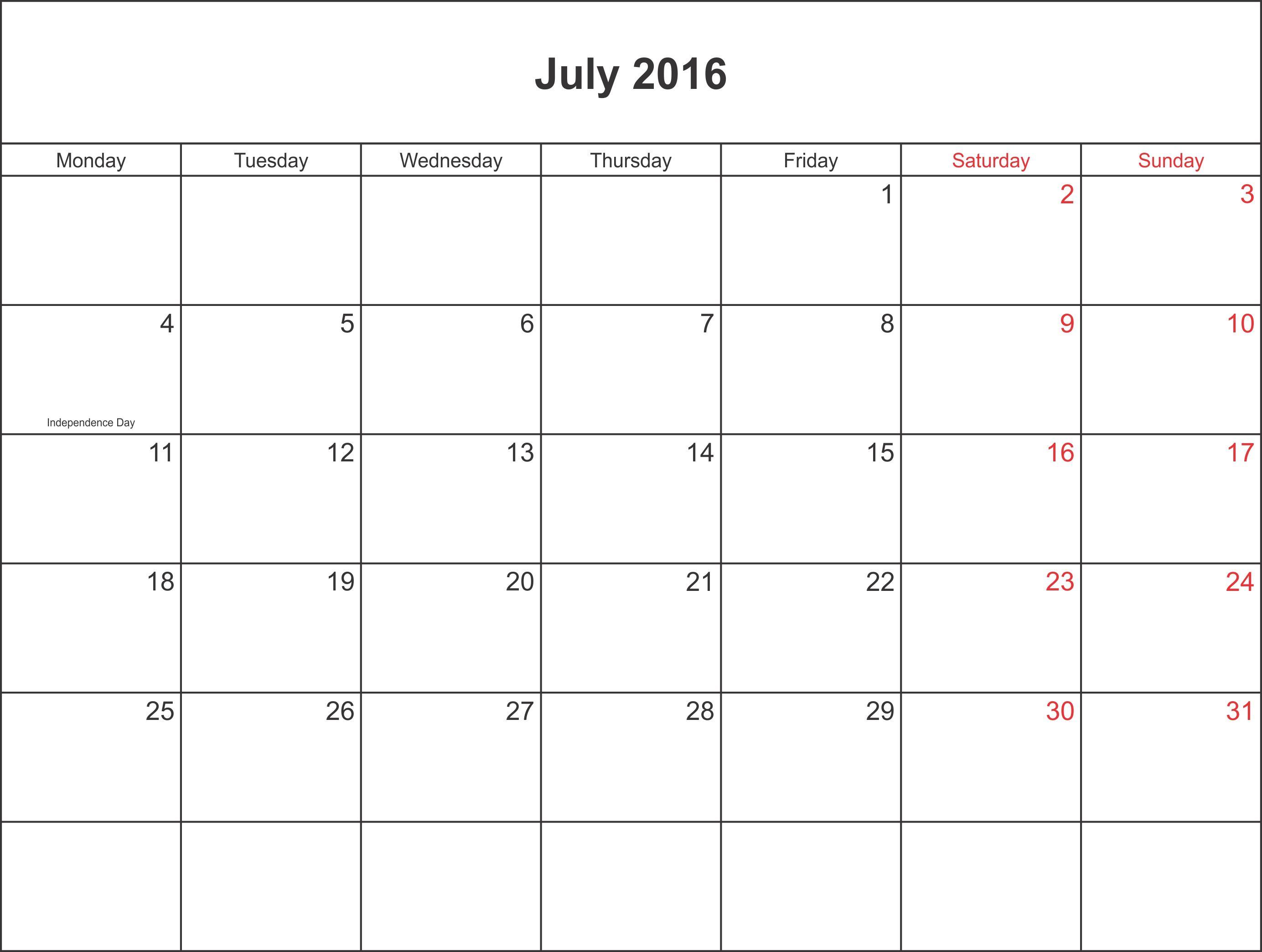 july 2016 calendar template word july calendar printable template