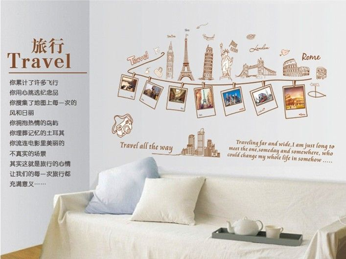 Free shipping hot diy world map travel landscape photo wall vinyl free shipping hot diy world map travel landscape photo wall vinyl wall stickers home decor giftsg 707529 gumiabroncs Images