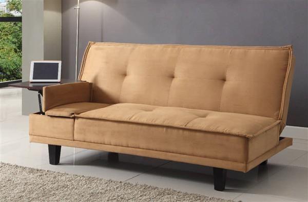 Berkeley Light Brown Fabric Wood Adjustable Sofa w/Hidden Table