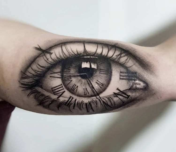 Clock Eye Tattoo By Pol Tattoo Post 26271 Eyeball Tattoo Eye Tattoo Clock Tattoo