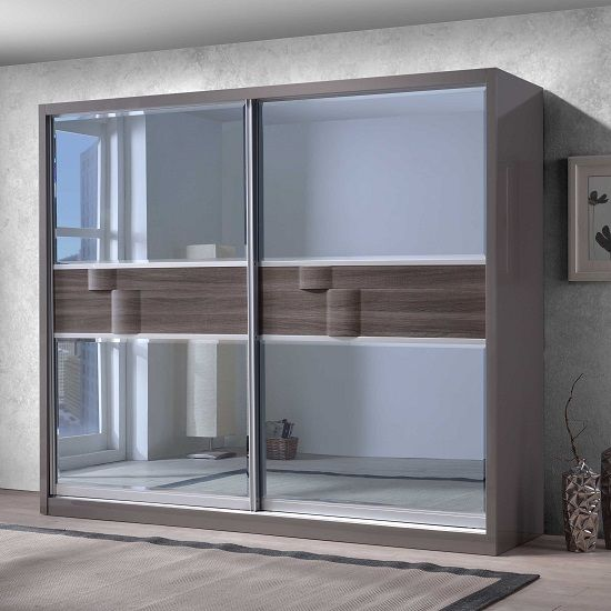 Sliding Mirror Closet Doors With Gray Hair: Swindon Wooden Sliding Wardrobe In Grey Gloss With 2