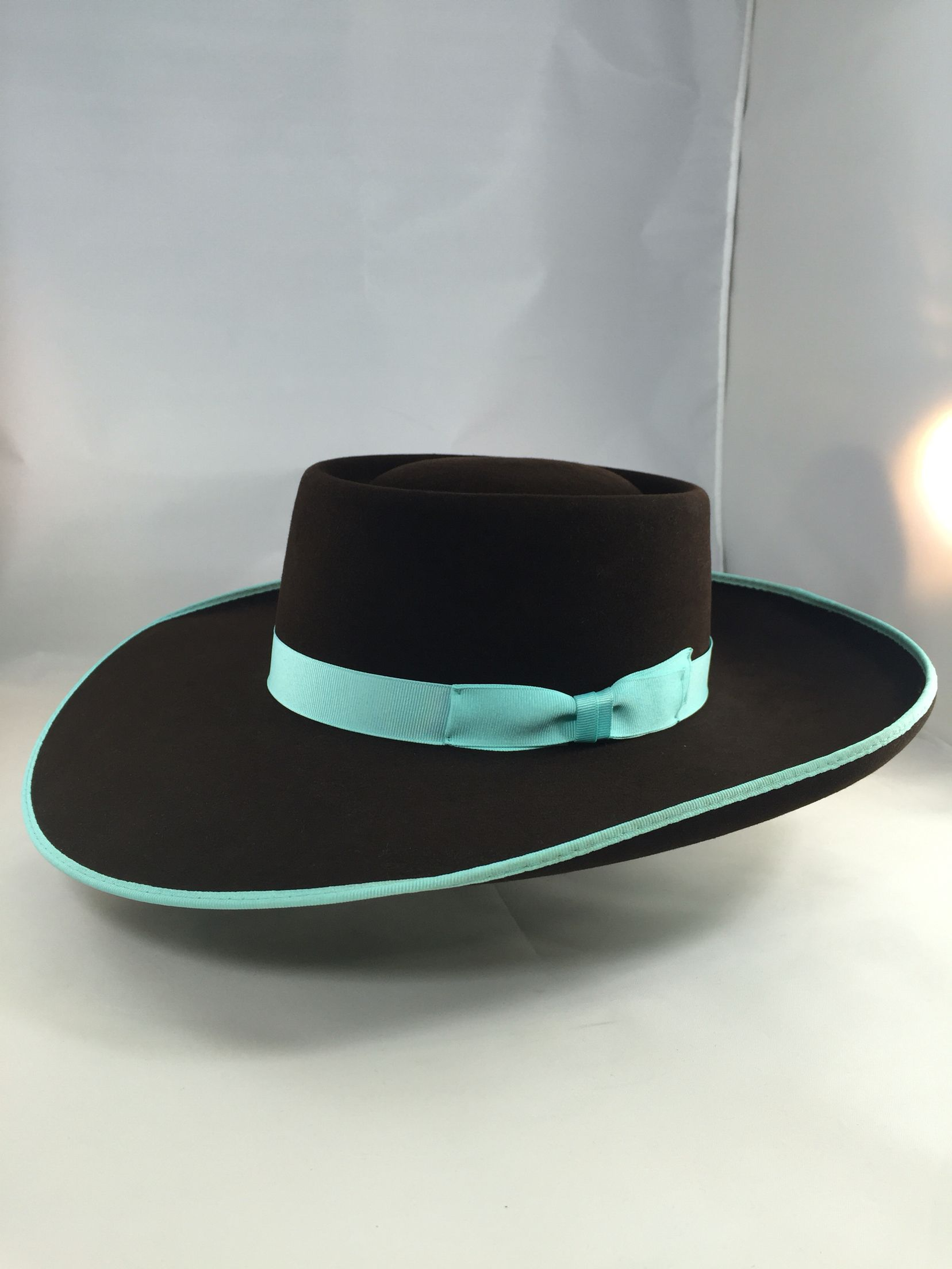 Greeley Hat Works Custom Chocolate Classic with Turquoise Bound edge pencil  roll Buckaroo snap! Http 2943b2dc158