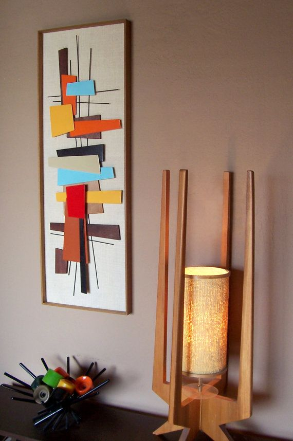 Mid century modern art abstract by jetsetretrodesign for Diy abstract wall art