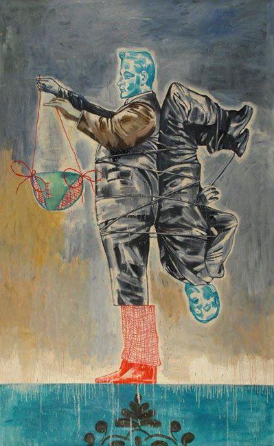Nicky Nodjoumi, Iran: Just having Fun. Oil on canvas   244 x 152.5 cm, 2010