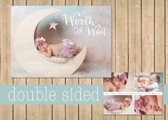 5d42cc8f214c4 Adoption BIRTH ANNOUNCEMENT - Double sided - Newborn Printable Digital  Simple modern collage - two Baby