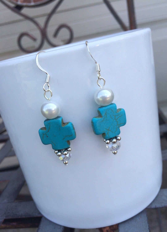 Turquoise Cross Earrings. Dangle Cross Earrings. Cross Jewelry. Bead Earrings. Drop Earrings. Unique Handmade Jewelry. Beads, cross, pearls. by OkieUkieDesign on Etsy