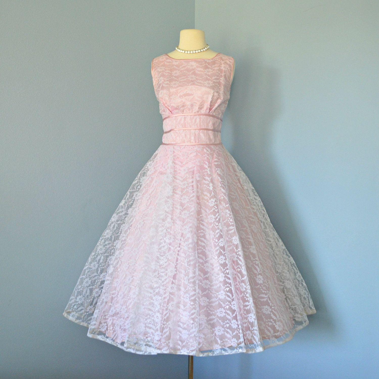 Vintage 1950s Wedding Dress...Darling Pale Rose Lace Tea Length ...