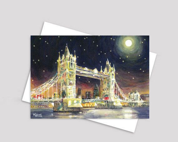 London greeting card - Tower Bridge painting - London card, watercolour card