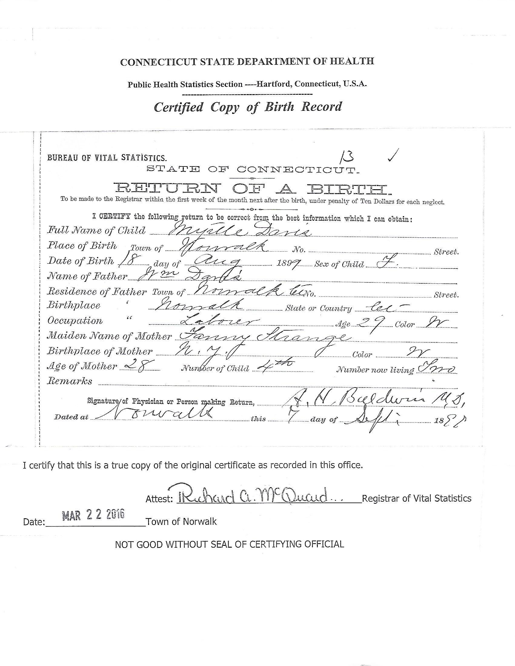 birth copy certified norwalk cert myrtle 1899 davis aug ct records