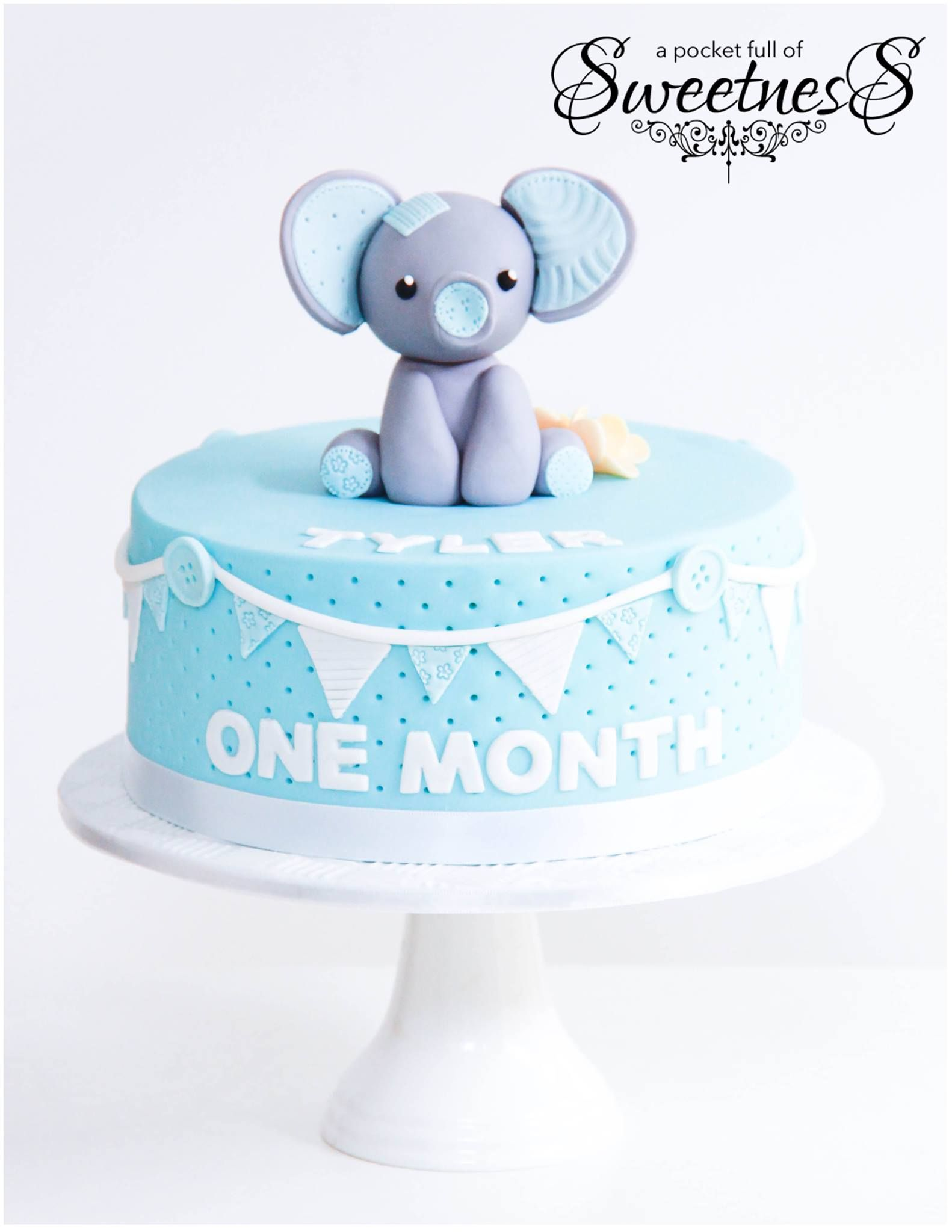 Baby Blue Elephant Themed One Month Birthday Cake Created By A Pocket Full Of Sweetness Baby Birthday Cakes One Month Baby Baby Cake