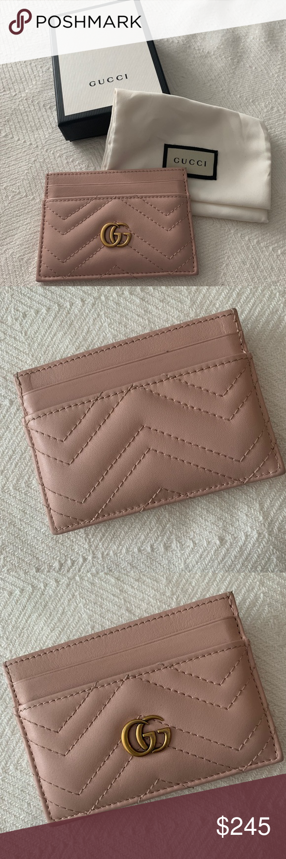 100% authentic b08f3 2c592 Gucci GG Marmont Leather Card Case - Pink GG Marmont card case made ...