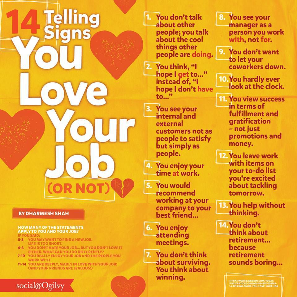 14 Signs That You Love Your Job Or Not Chart Business Tips I